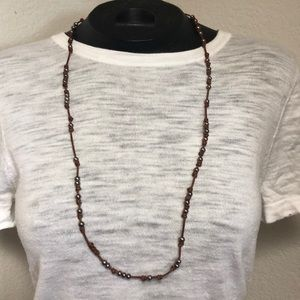 Chan Luu Grey Pearl Necklace on Leather